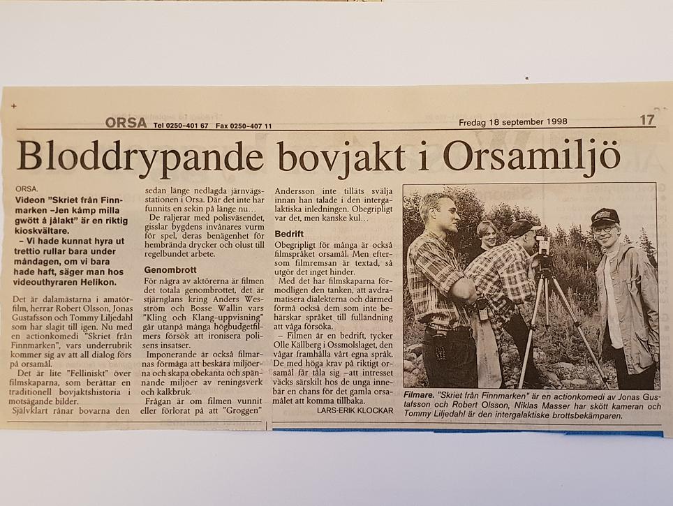Kioskvältarartikel i Mora Tidning